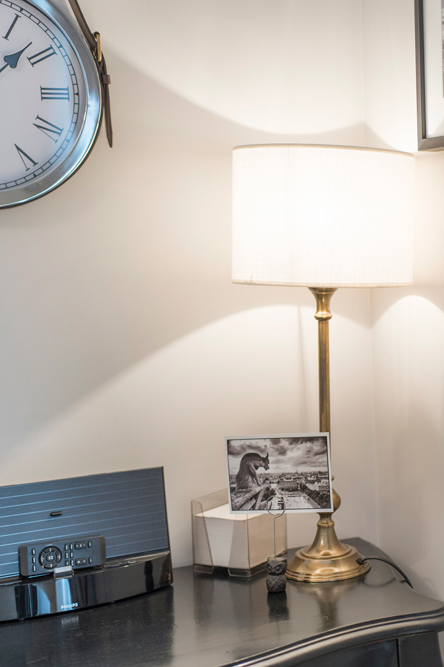 Lamp and iPhone speakers in the Monthelie vacation rental offered by Paris Perfect