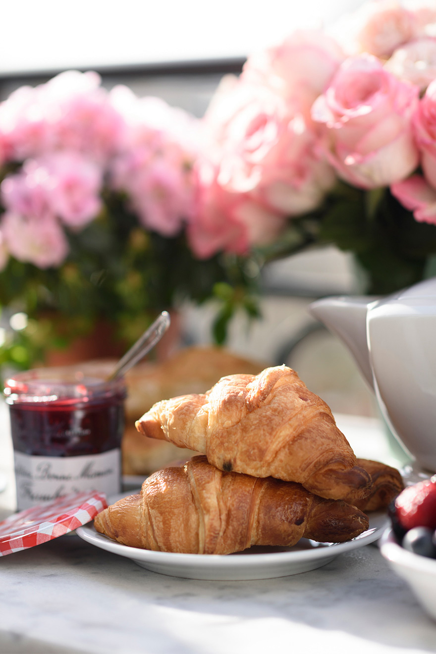 French breakfast at the Chateau Latour vacation rental by Paris Perfect