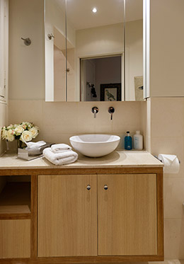 Pamper yourself in the beautiful modern bathroom of the Clairette vacation rental offered by Paris Perfect