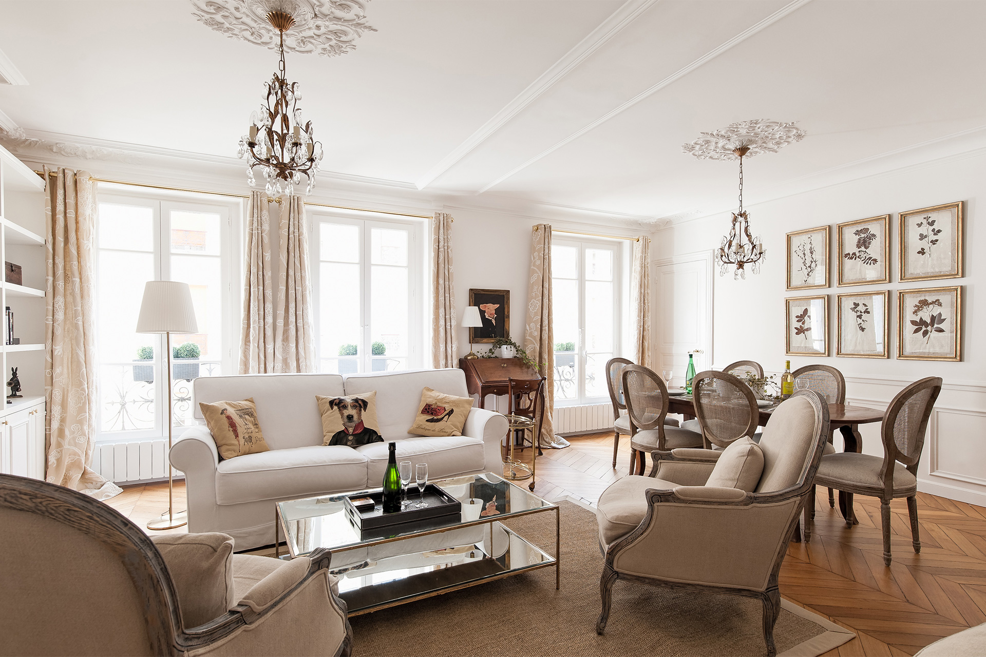 Living room and dining room of the Montagny vacation rental offered by Paris Perfect
