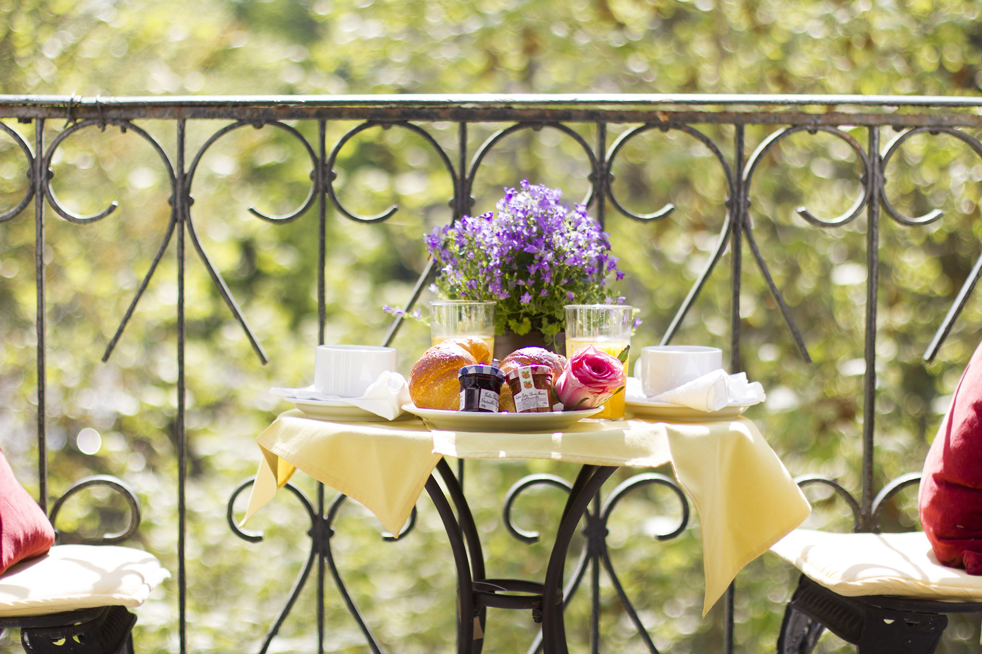 Long Private Balcony with Bistro Table in the Chambertin vacation rental offered by Paris Perfect