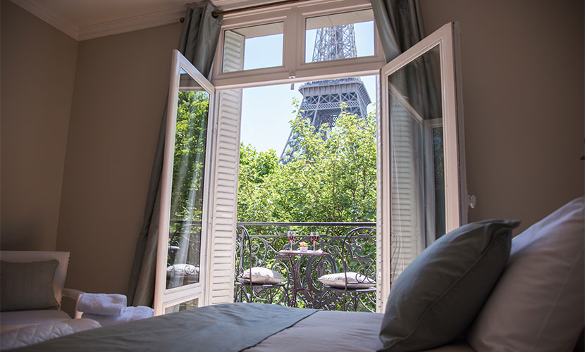 Eiffel Tower View from Paris Apartment Bedroom