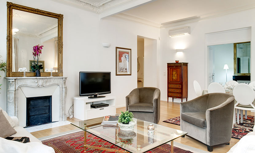 Flat-Screen TV & DVD Player in Paris Apartment Rental