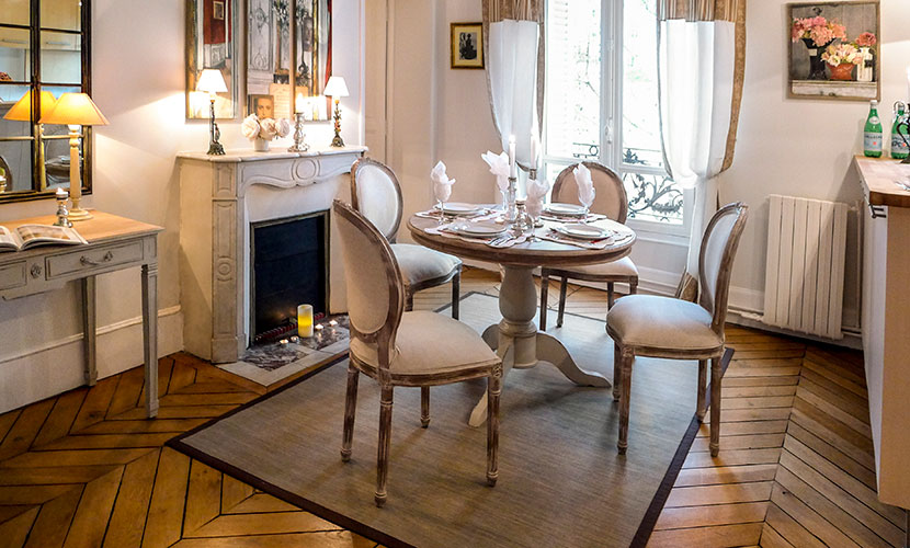 Romantic dining room with oak table and writing desk