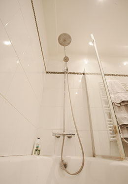 Bathtub-Shower in Paris Apartment Bathroom