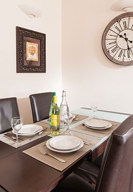Dining at home in the Vougeot vacation rental offered by Paris Perfect
