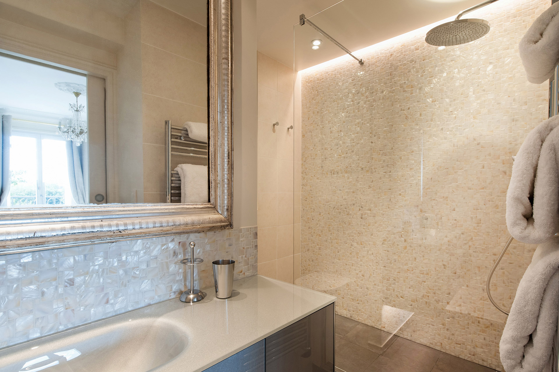 Bathroom has large walk-in shower in the Merlot vacation rental offered by Paris Perfect