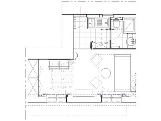 Kir Studio Rental Paris Floorplan