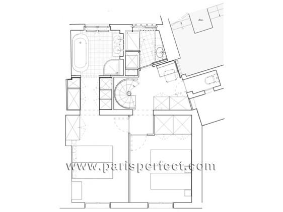 Floorplan of the upper floor of our Bordeaux flat in Paris