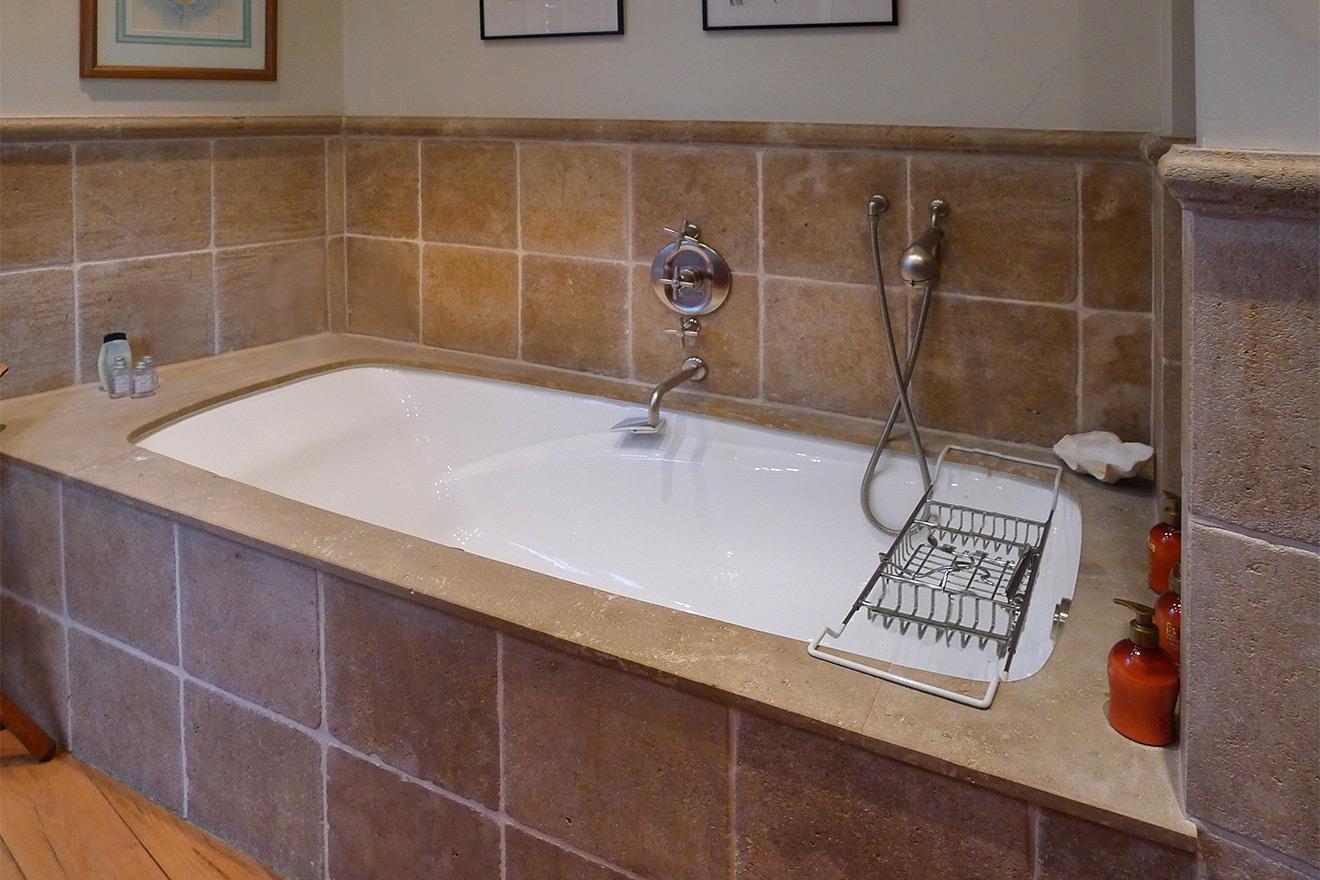 Enjoy a relaxing soak in this luxurious bathtub