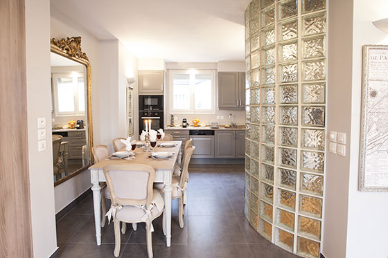 View from dining area towards kitchen of the Bordeaux vacation rental offered by Paris Perfect