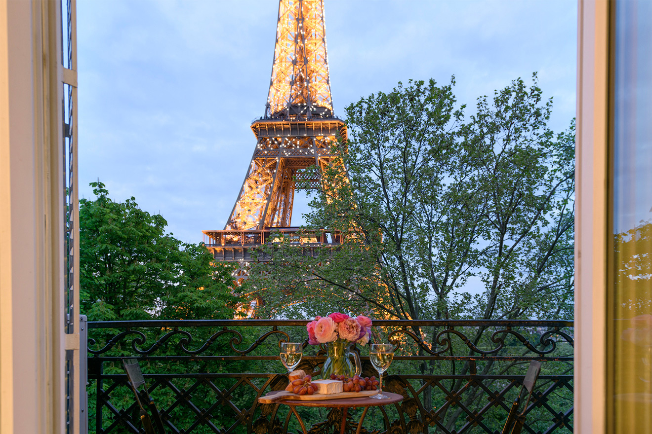 Watch the Eiffel Tower sparkle at night from your window in the Viognier vacation rental offered by Paris Perfect
