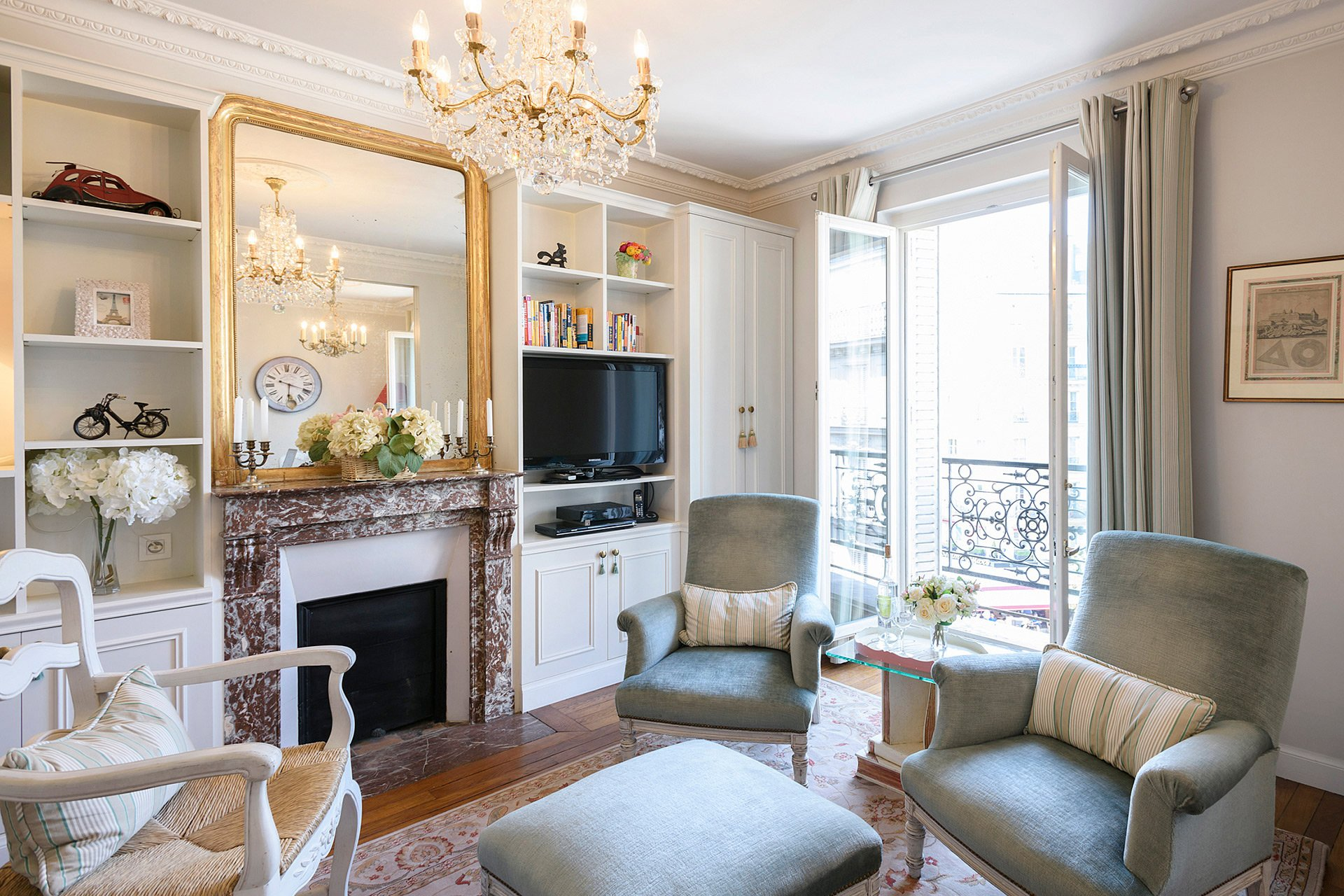 Living area is flooded with sunlight in the Clairette vacation rental offered by Paris Perfect