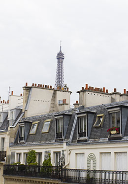 Eiffel Tower over rooftops