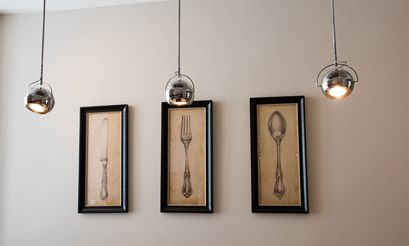 Pendant lights and vintage inspired prints