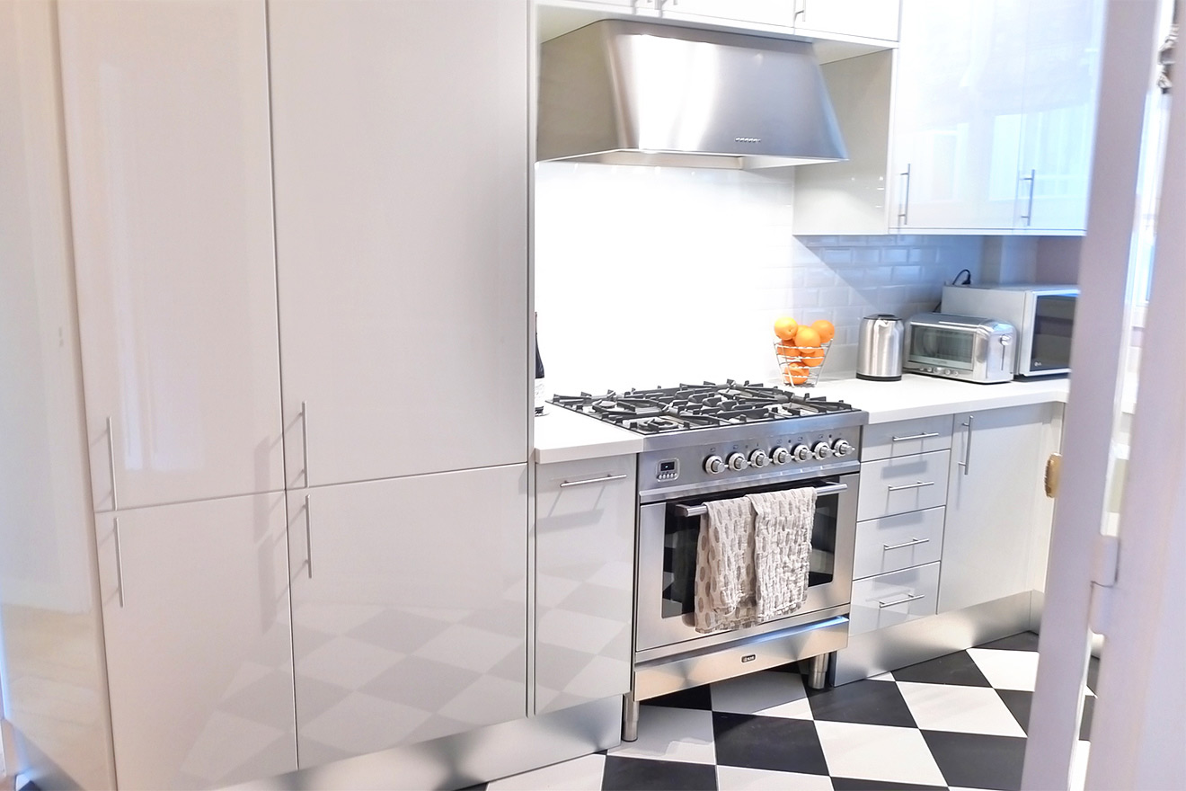 Large fridge with freezer in the Maubert vacation rental offered by Paris Perfect