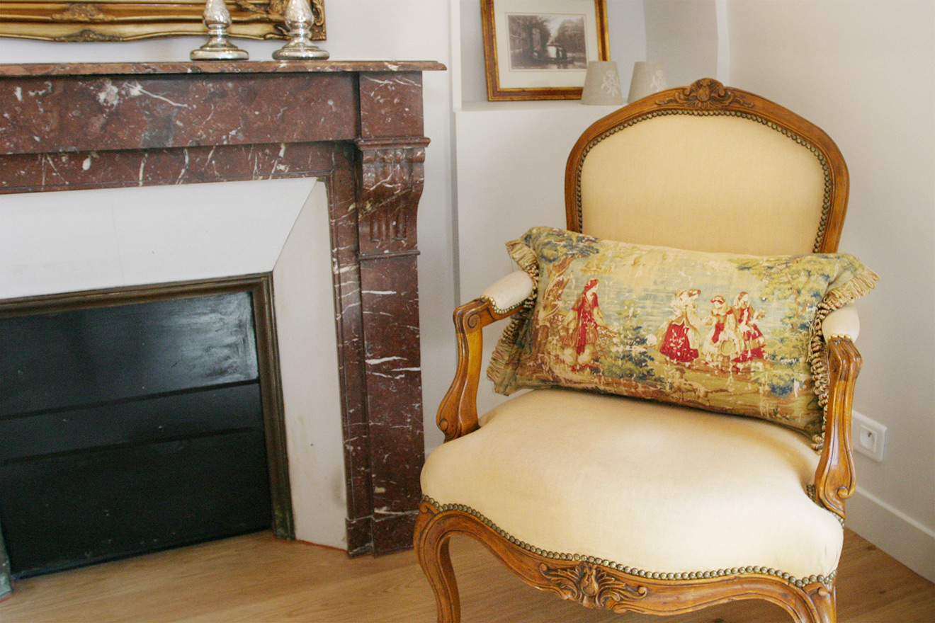 French Chair with Needlepoint Cushion
