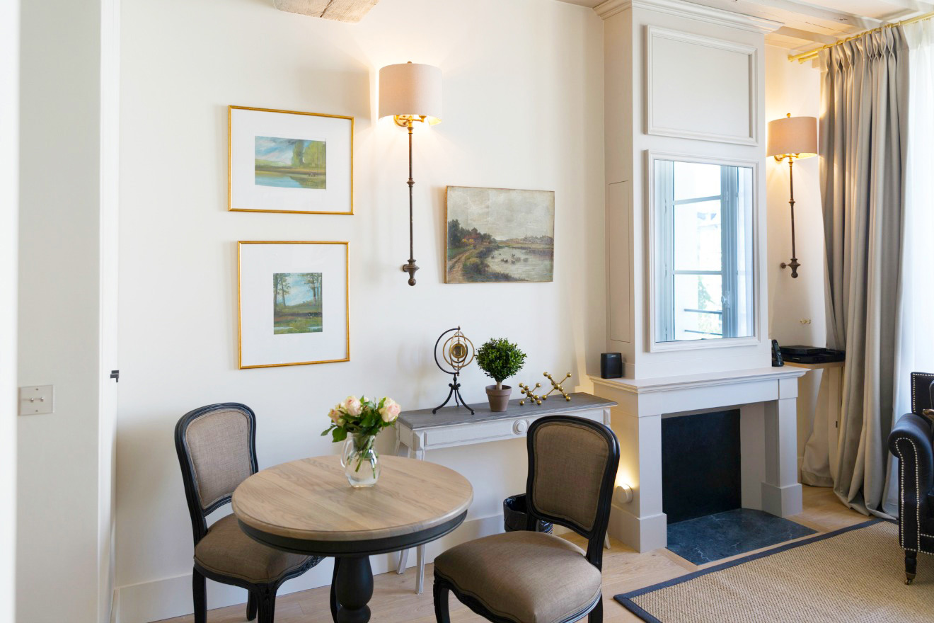 Dining table for three in the Castillon vacation rental offered by Paris Perfect