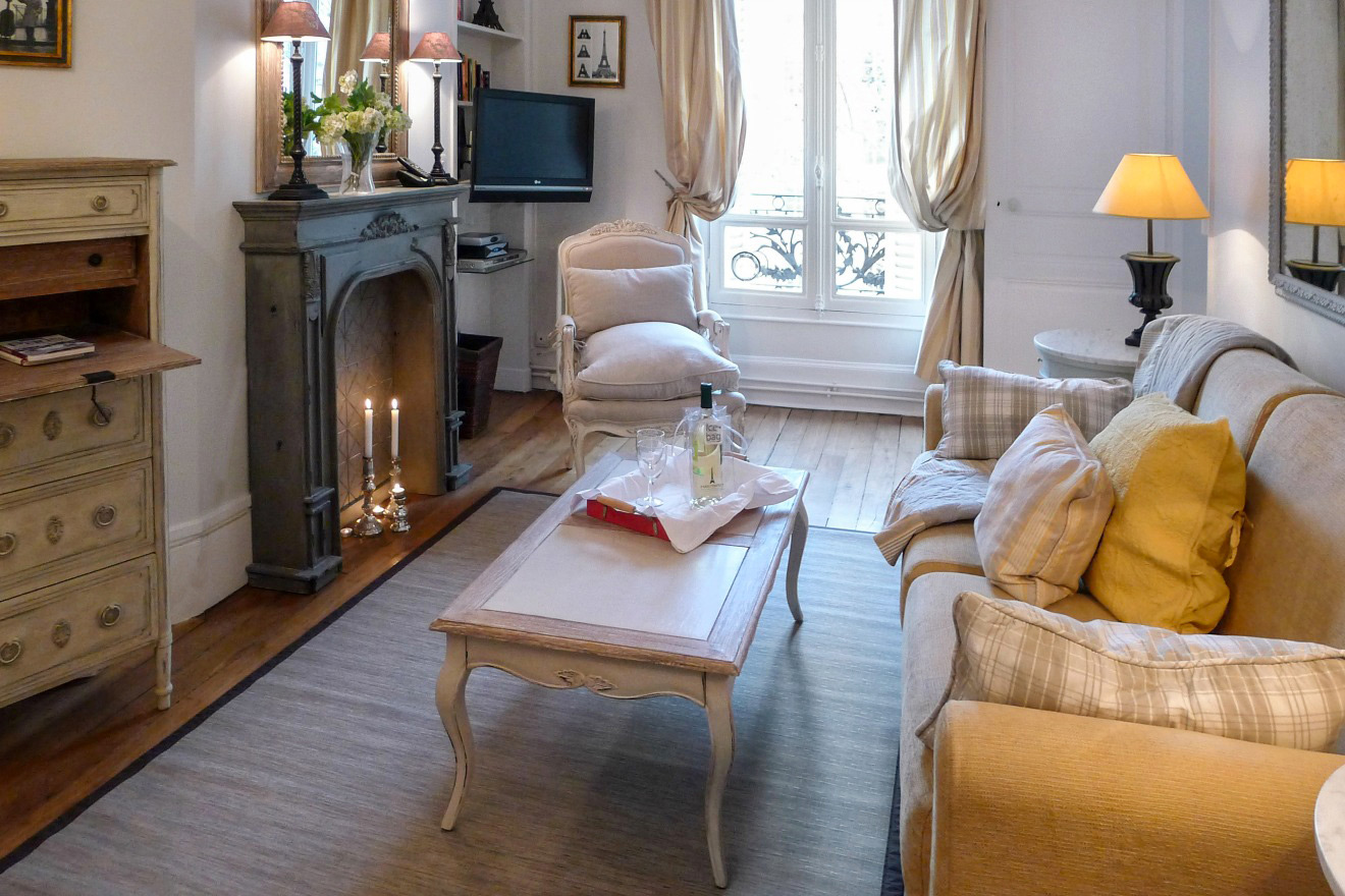 Cozy Paris living room with pale yellow sofa