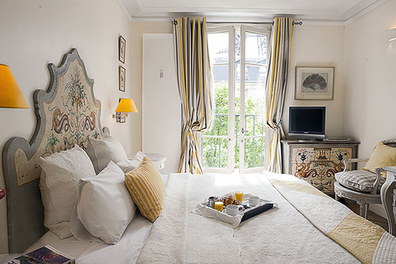Light filled master bedroom of our Bergerac Paris apartment