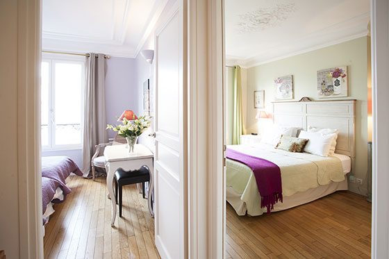 View to both bedrooms in the Bordeaux vacation rental offered by Paris Perfect