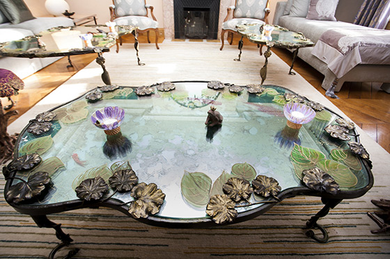 Floral custom made glass table