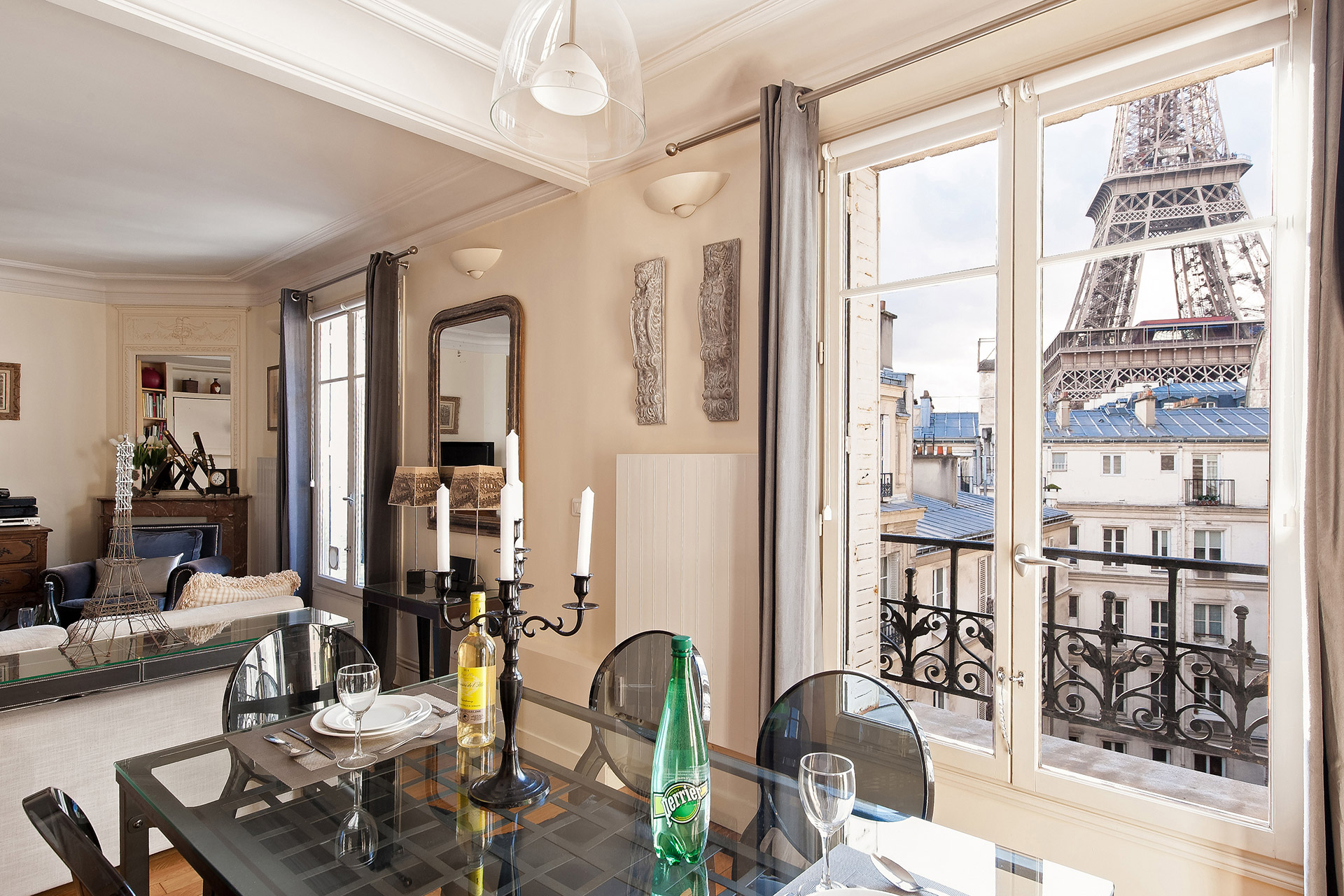 One of the most romantic dining tables in Paris in the Romanée vacation rental offered by Paris Perfect