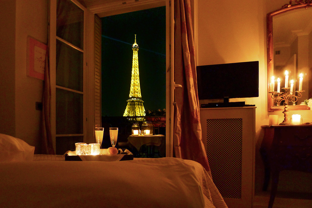 Romantic Paris Bedroom with Eiffel View