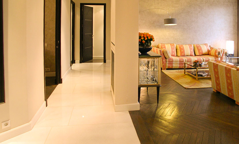 Marble corridor leads to master bedroom and study
