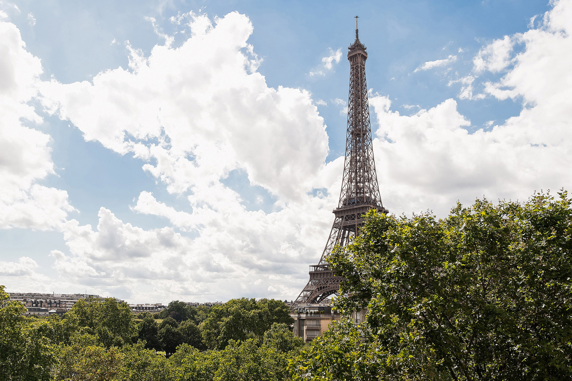 Eiffel Tower view from the living room of the Merlot vacation rental offered by Paris Perfect