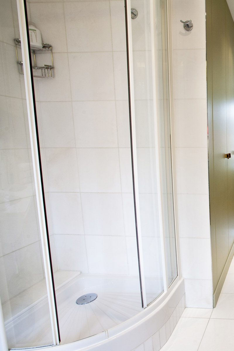Art Deco shower in bathroom 1 of the Bordeaux vacation rental by Paris Perfect
