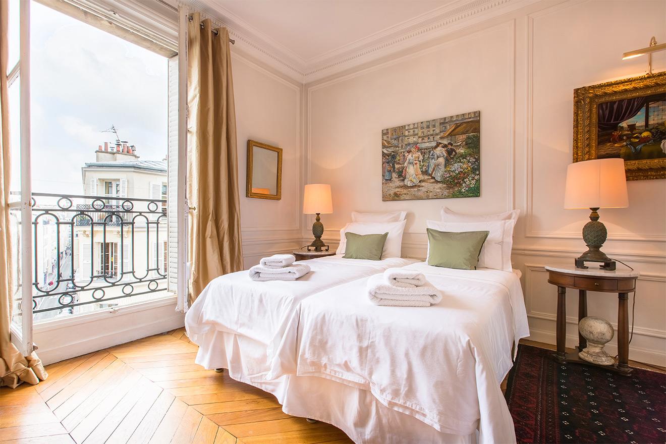 Large windows in bedroom