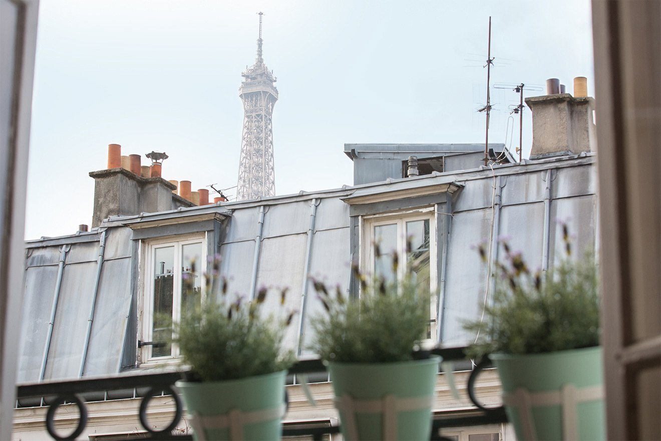 Gorgeous view of Parisian buildings at the Chateauneuf vacation rental offered by Paris Perfect