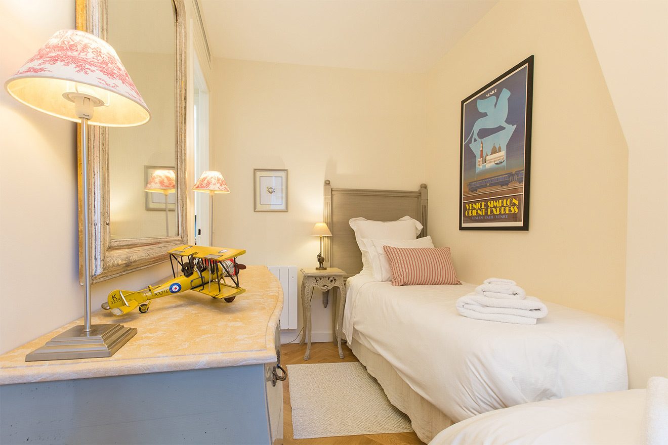 Second bedroom is perfect for children in the Merlot vacation rental offered by Paris Perfect