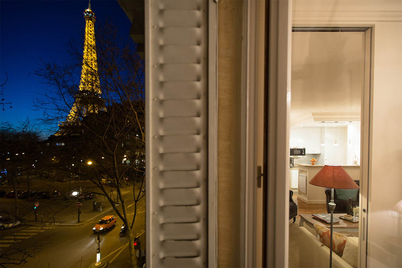 Eiffel Tower light show at night from the Saint Amour vacation rental offered by Paris Perfect