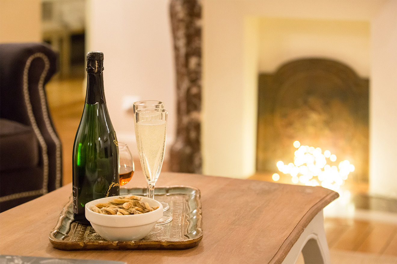 Champagne and nibbles in the Saint Amour vacation rental offered by Paris Perfect