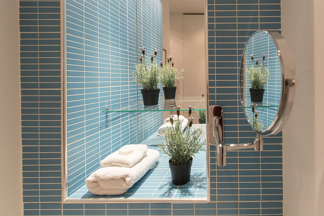 Blaye bathroom bright tiles
