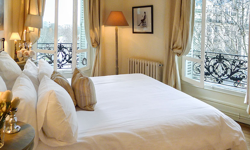 Step into the gorgeous French bedroom with queen bed