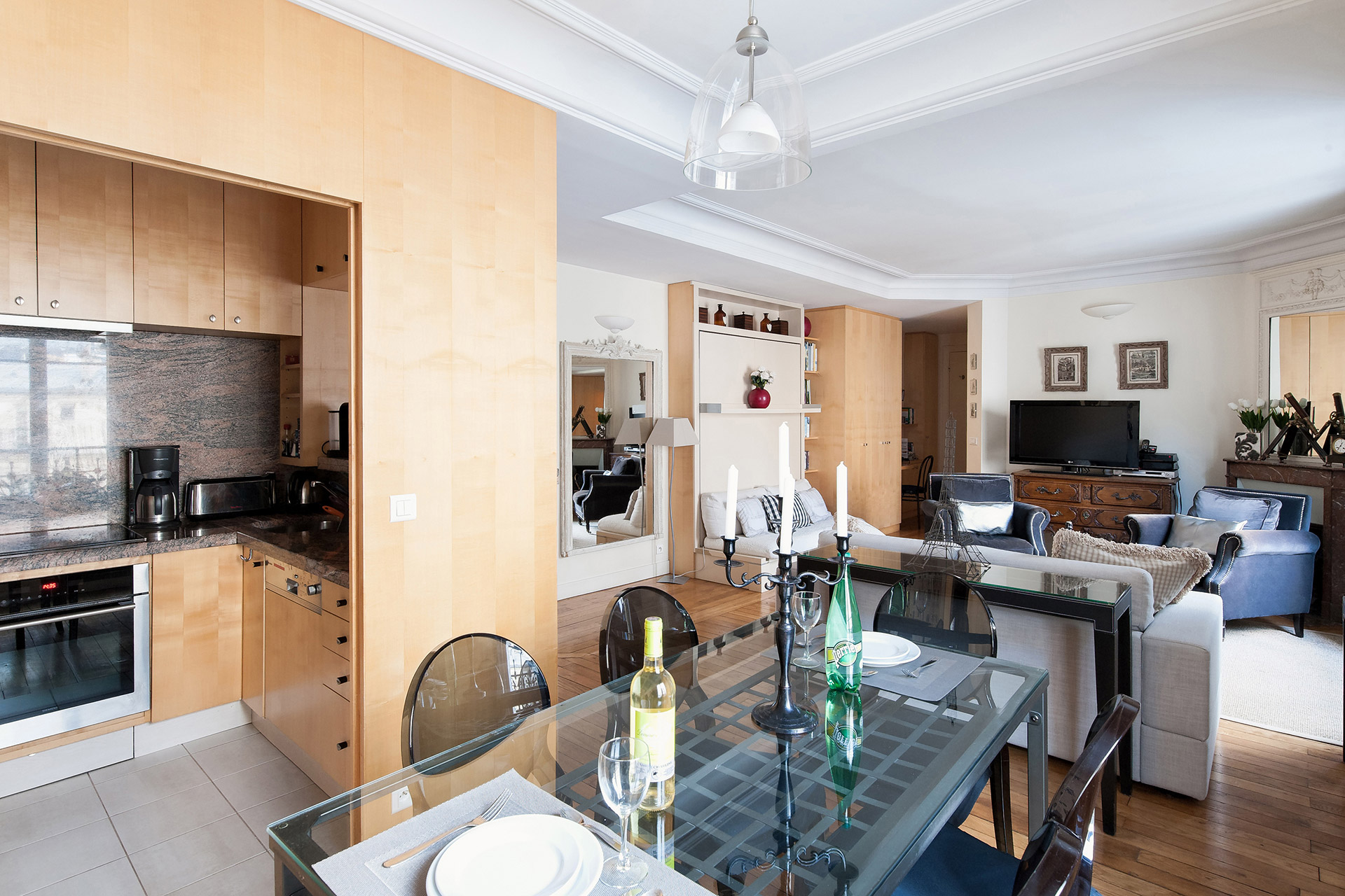 Dining table conveniently located in the Romanée vacation rental offered by Paris Perfect