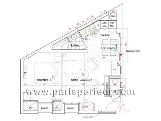 Floorplan of the charming Médoc Paris apartment