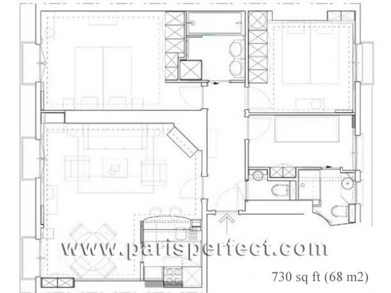 Floorplan of our 3 Bedroom Bergerac Apartment Rental in Paris
