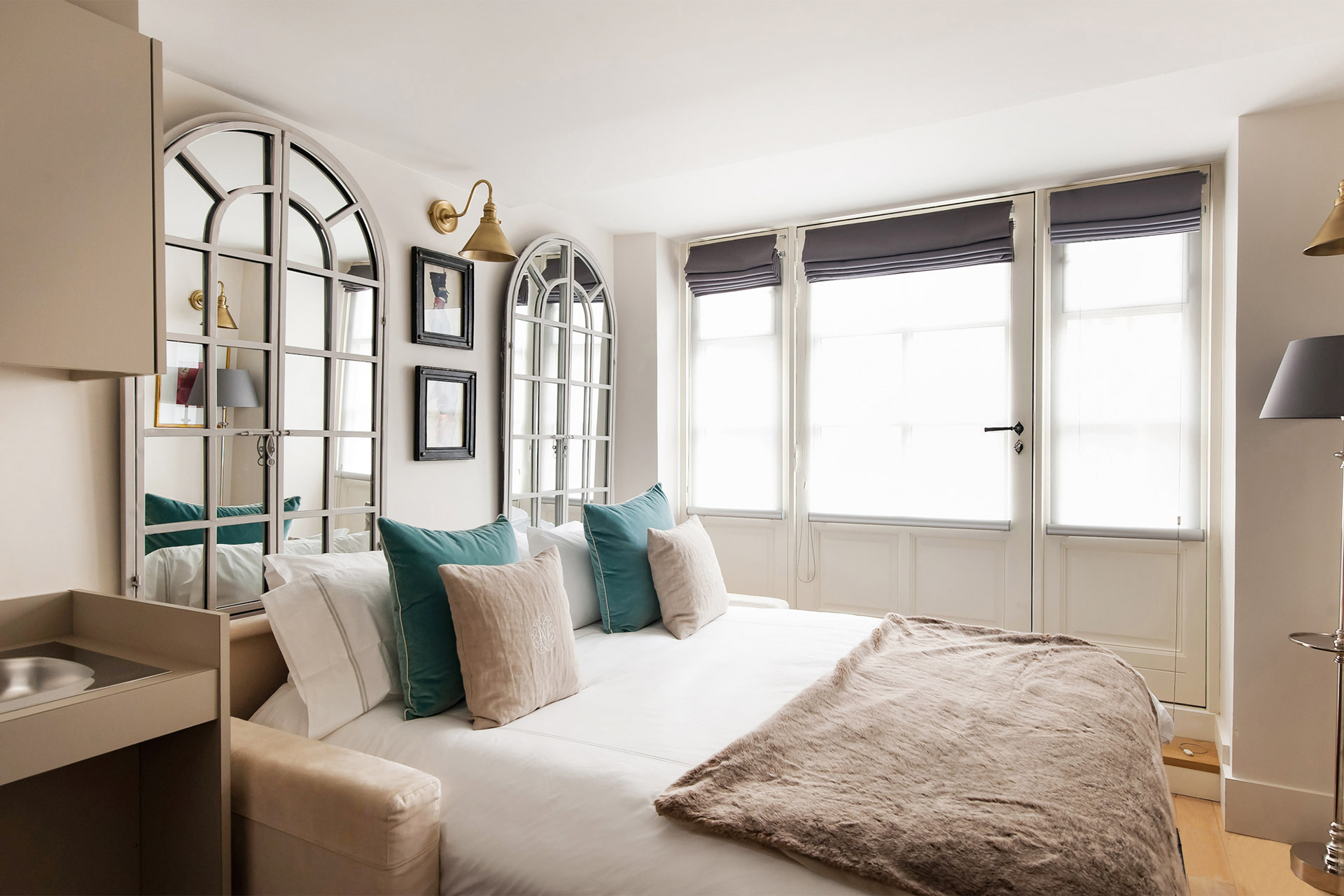 Sofa converts into a comfortable extra wide queen bed in the Anjou vacation rental offered by Paris Perfect