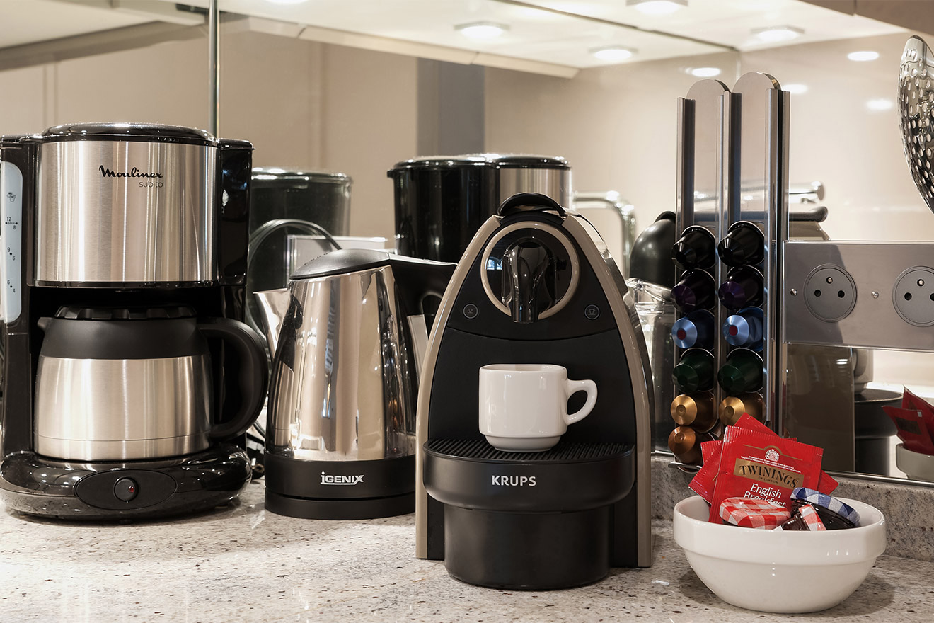 Freshly brewed coffee from your Nespresso maker in the Anjou vacation rental offered by Paris Perfect