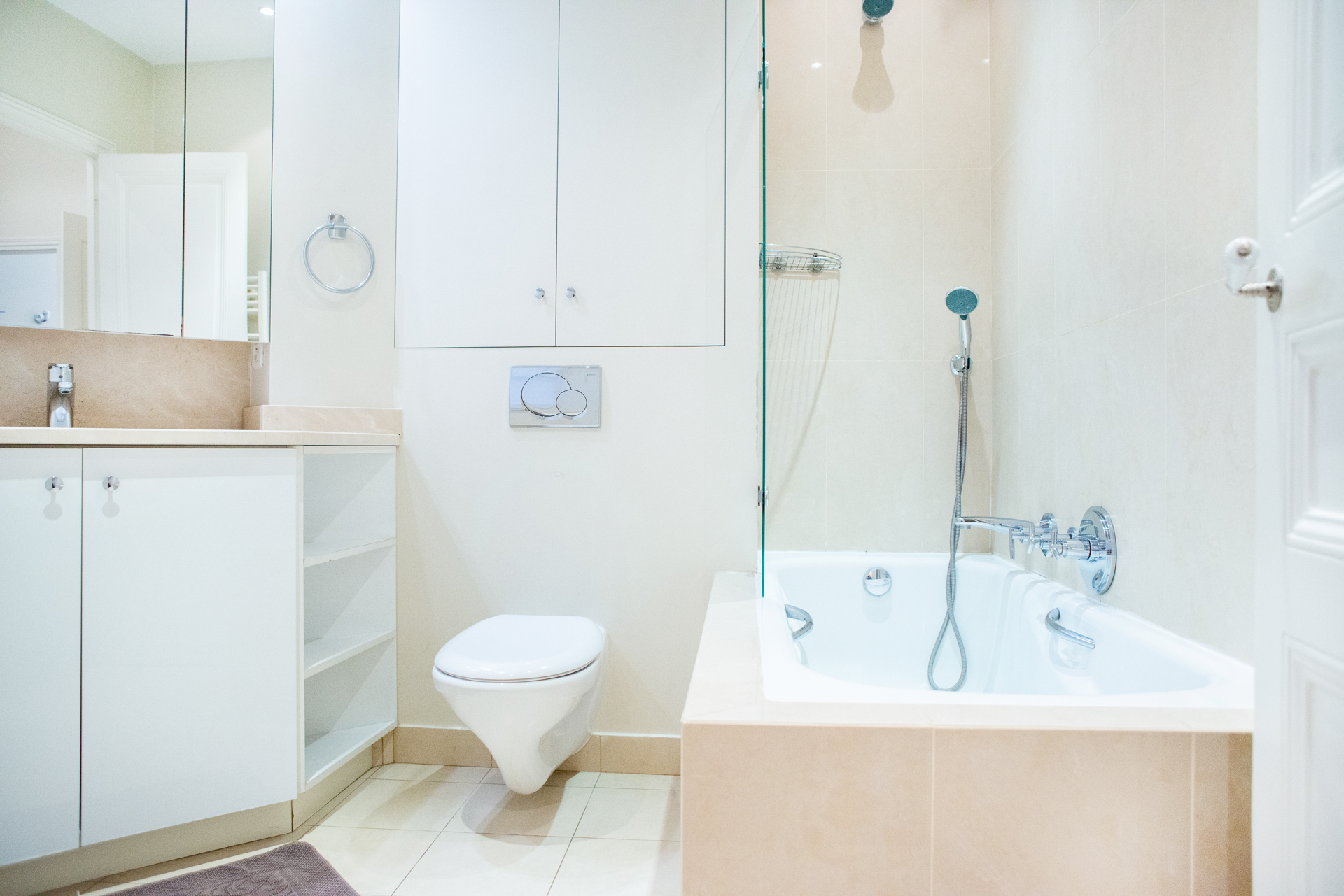 Remodeled bathroom in the Corent apartment by Paris Perfect