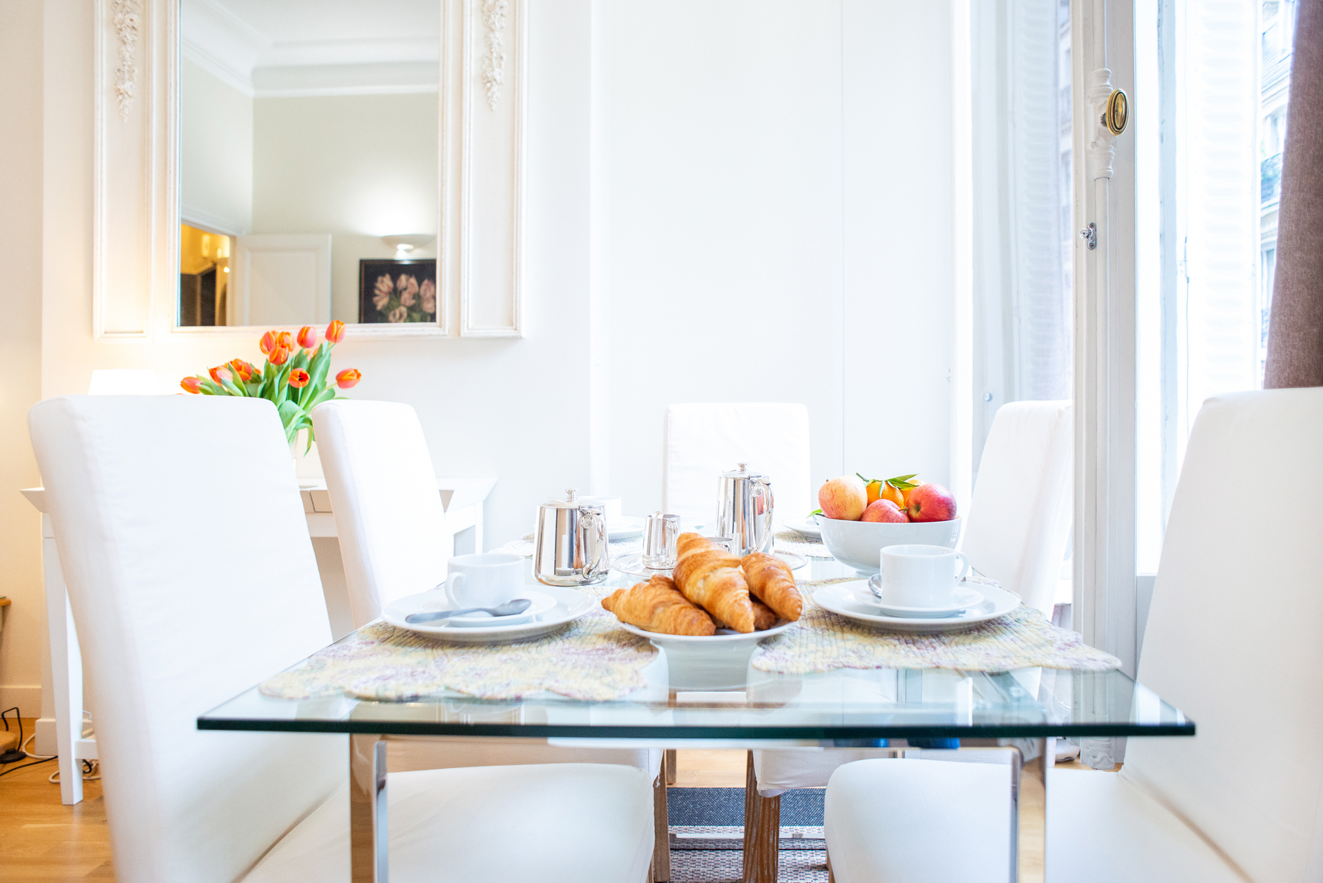 Dining area in the Corent apartment by Paris Perfect