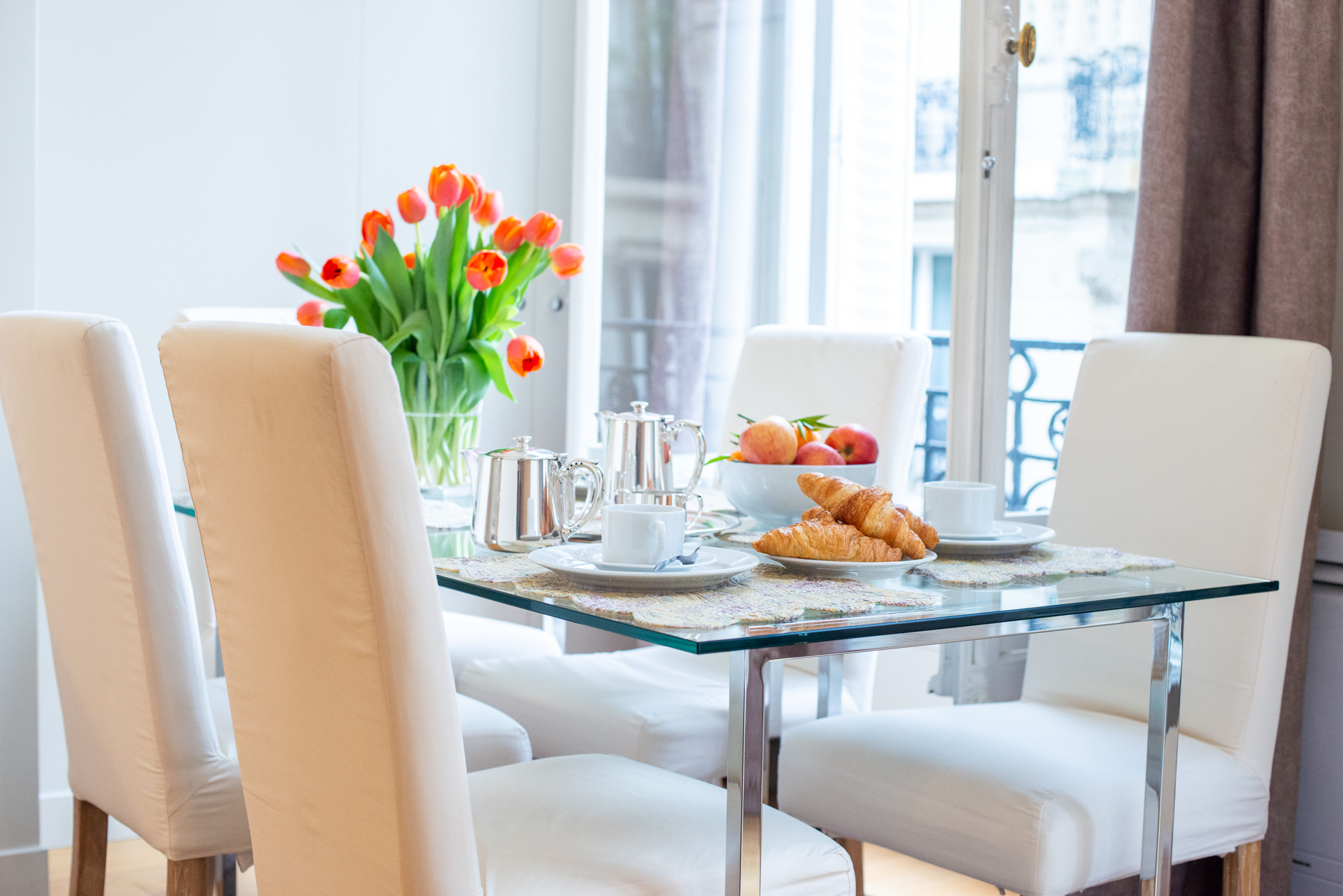 Dining room in the Corent apartment by Paris Perfect