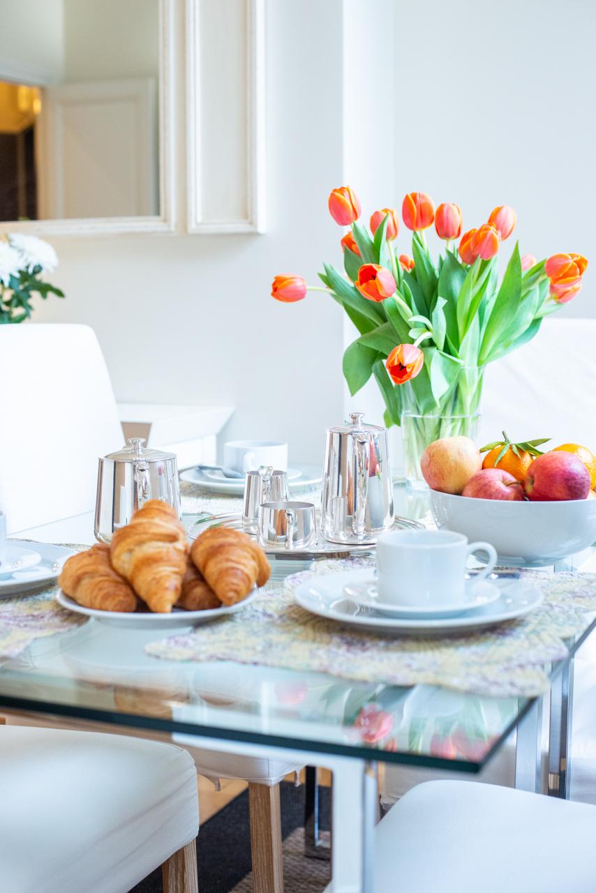 Elegant dining room in the Corent apartment by Paris Perfect