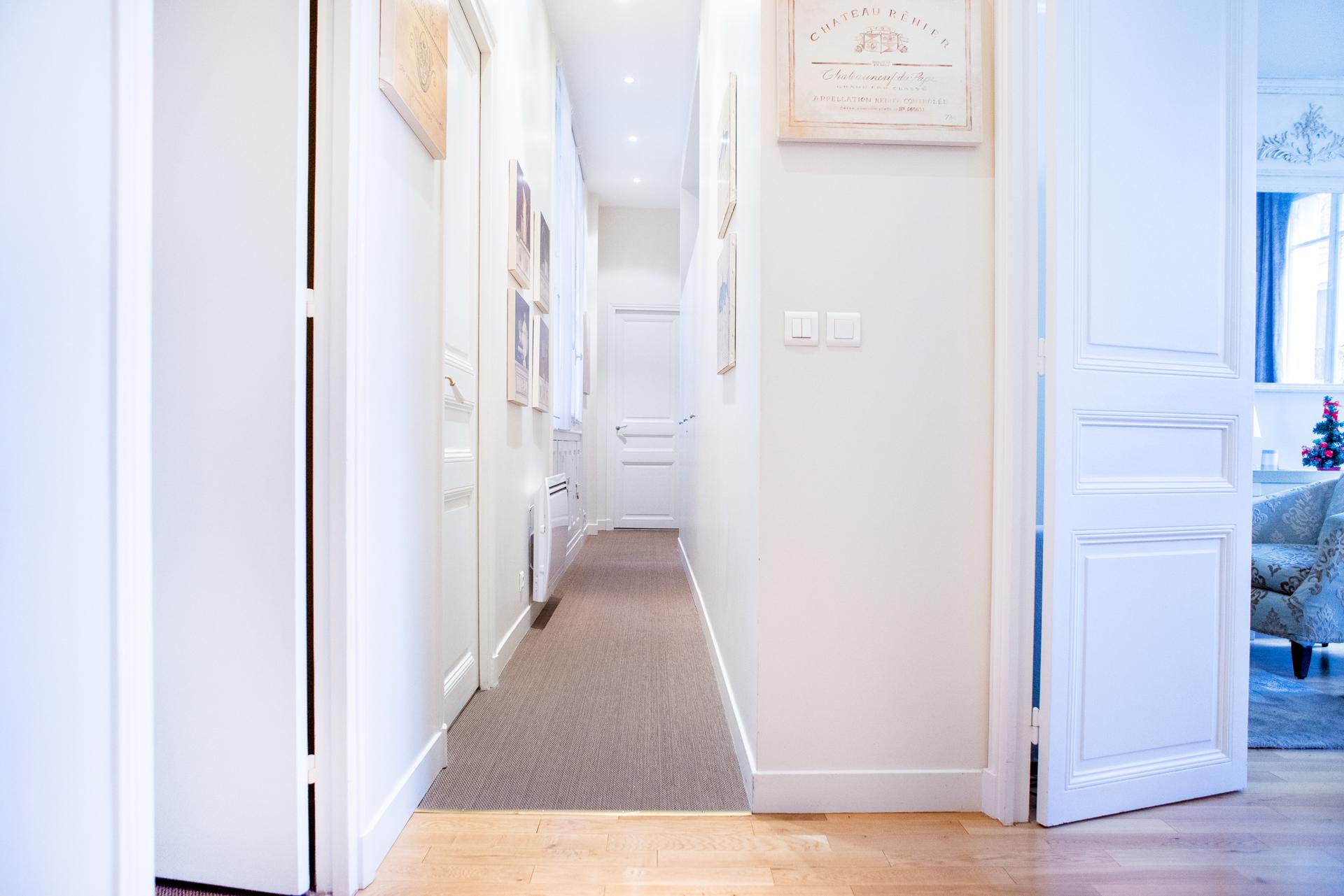 Elegant hallway in the Corent apartment by Paris Perfect