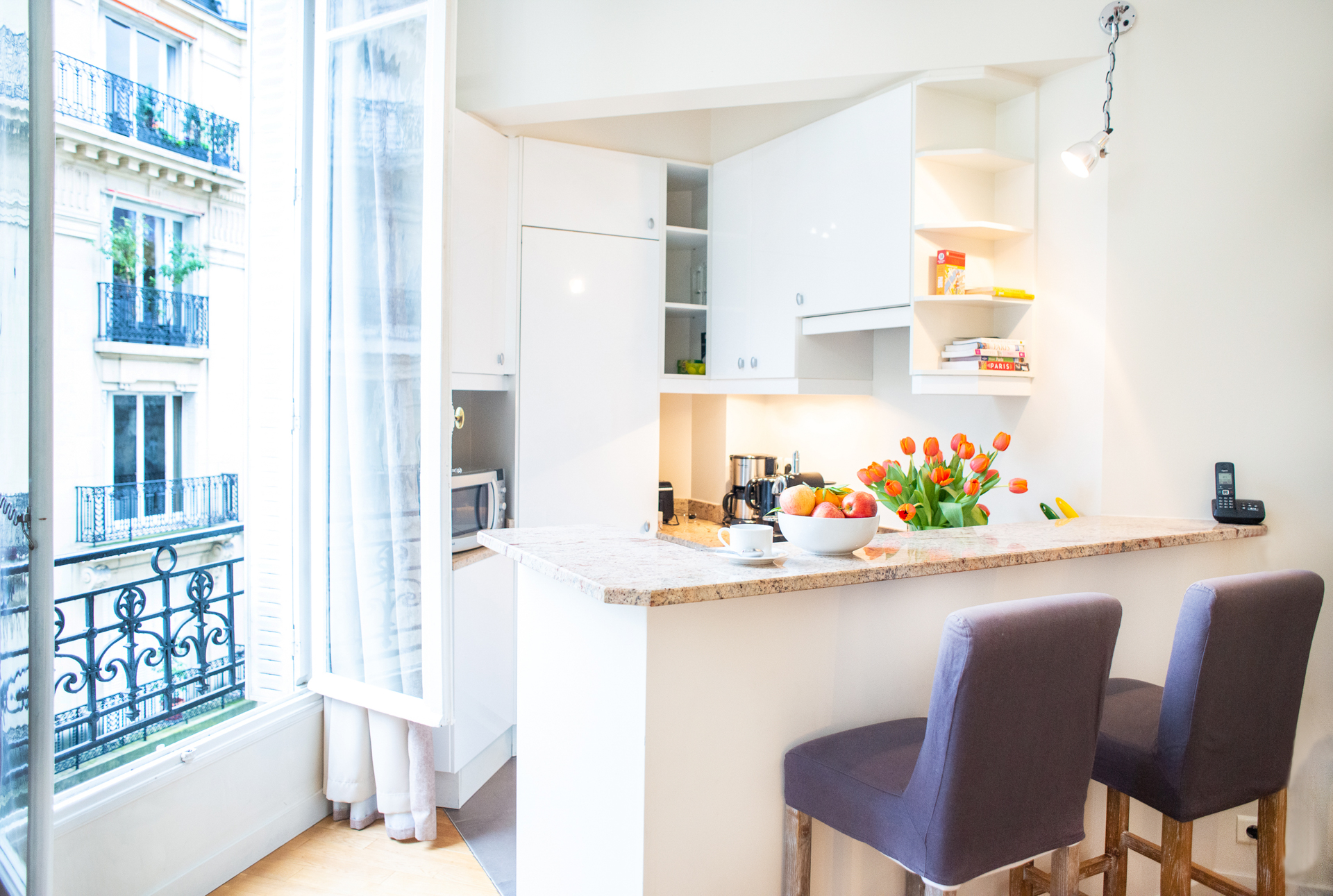 Extra eating space in the Corent apartment by Paris Perfect