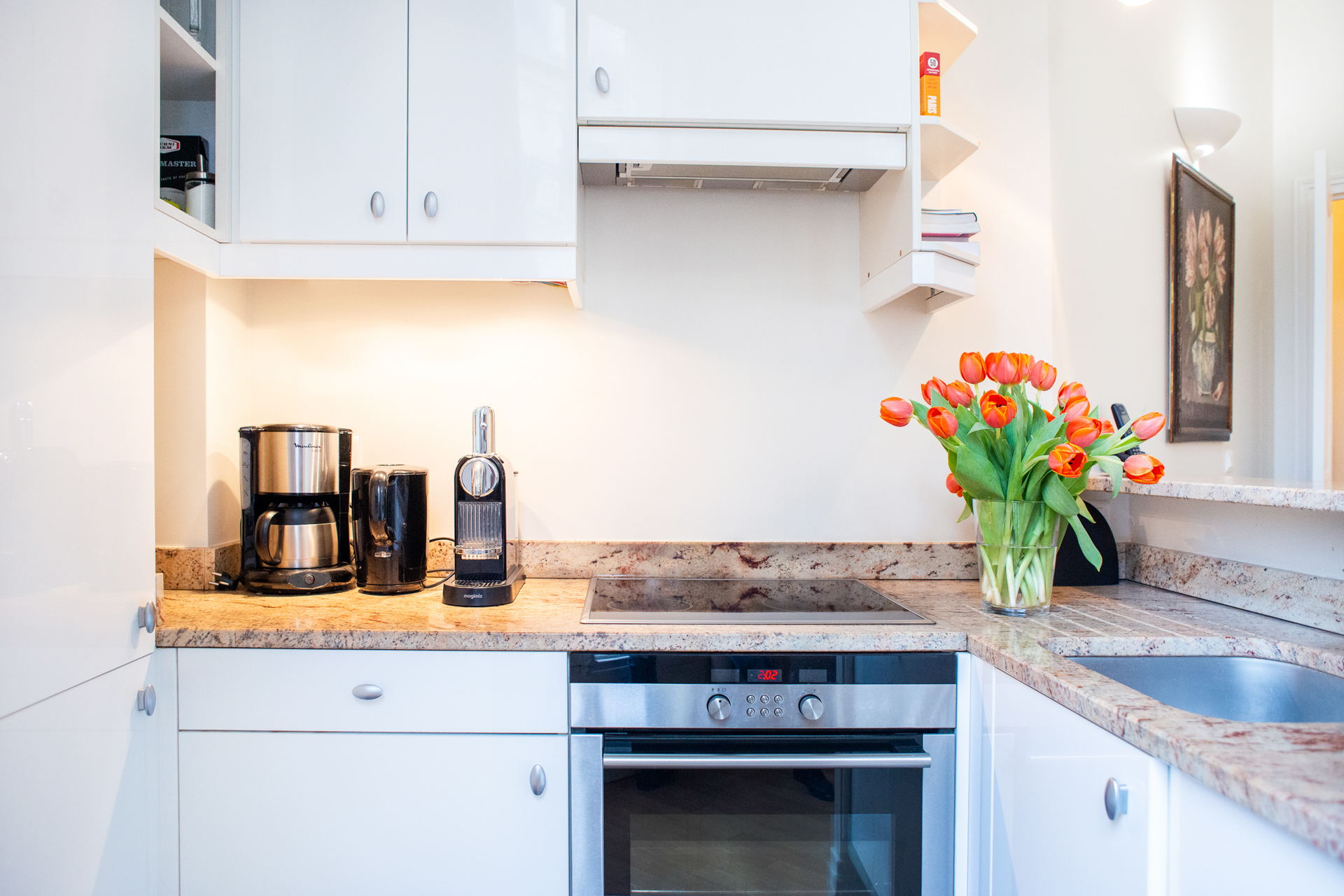 Remodeled kitchen in the Corent apartment by Paris Perfect